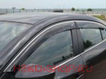 Дефлекторы боковых окон COBRA для AUDI A4 (8K, B8) 2008- SD с хромированным молдингом